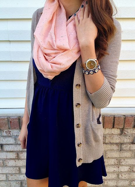 navy blue dress, cream caridgan, pink infinity scarf... Perfect for a date or a day out with friends