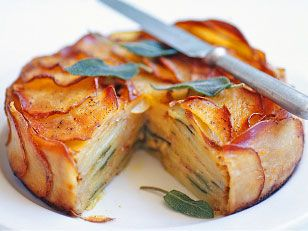 Butter, cheese, onion, sage, potato pie - layered in a springform pan and baked. Sounds tasty!