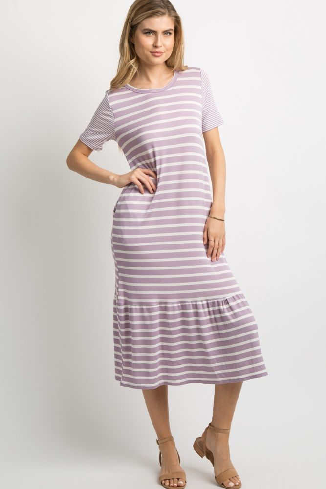 2c189610965f Lavender Multi-Striped Ruffle Trim Dress | Calley and Jonathan ...