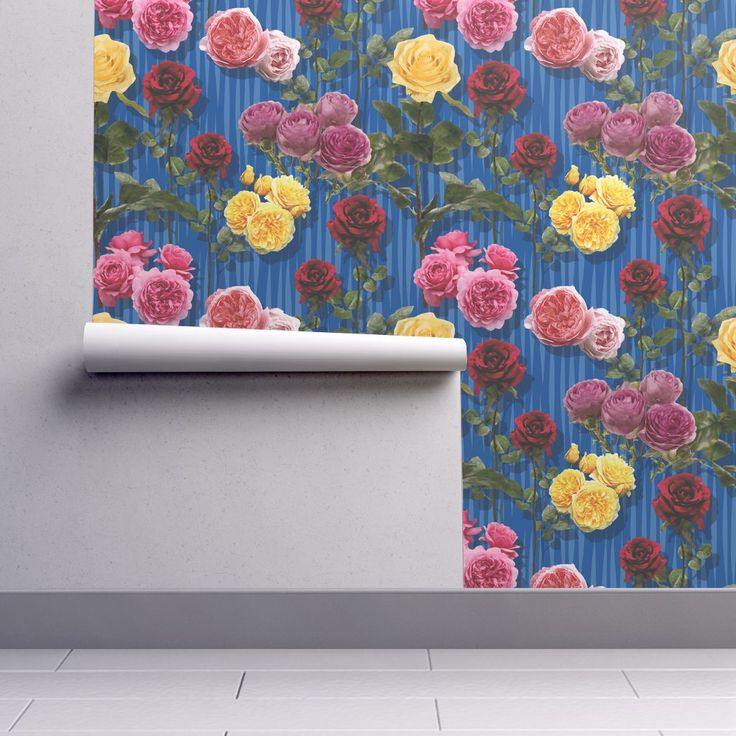 Isobar Durable Wallpaper featuring Blue roses by angelfraser   Roostery Home Decor