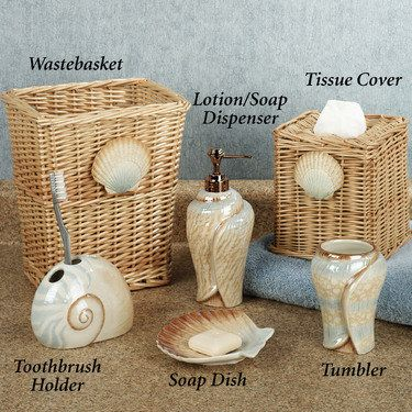 Sarasota Seashell Bath Accessories Bring The Beach Into Your Own Oasis.  Handpainted Coastal Ceramic Bath Accessories Have A Beautiful Gloss Finish.