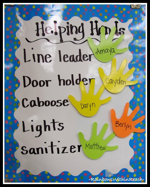 Easy Classroom job chart. Posterboard, borders, dry erase markers, and cut out hands