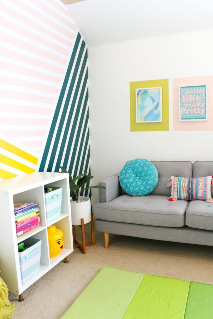 Colorful Playroom Refresh And Diy Striped Wall In 2020 Colorful Playroom Striped Walls Kids Room Wall Decor