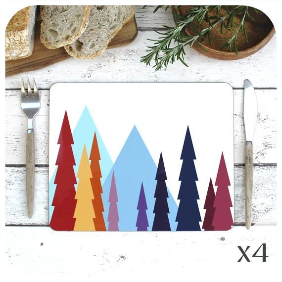 Scandinavian Woodland Placemats 4 Nordic Print Place Mats Etsy In 2020 Placemats Christmas Table Decorations Winter Woodland