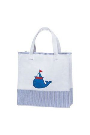 Blue stripe baby boy's nautical canvas tote bag