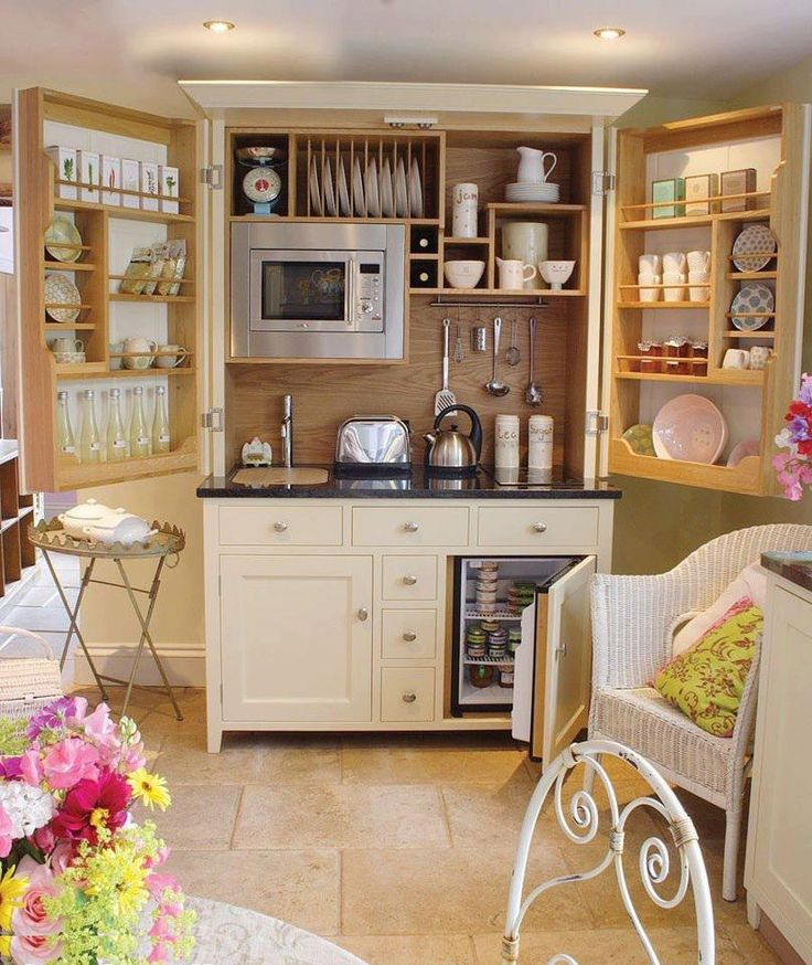 Wouldn't this make a great kitchenette in a studio apartment or granny flat?    I'm assuming the doors fold over each other when not in use.