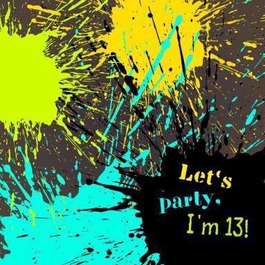 Coole Party Einladung Zum 13. Geburtstag Mit Knalligen Farbspritzern