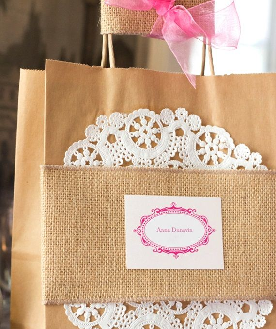 brown paper bad with doily and burlap