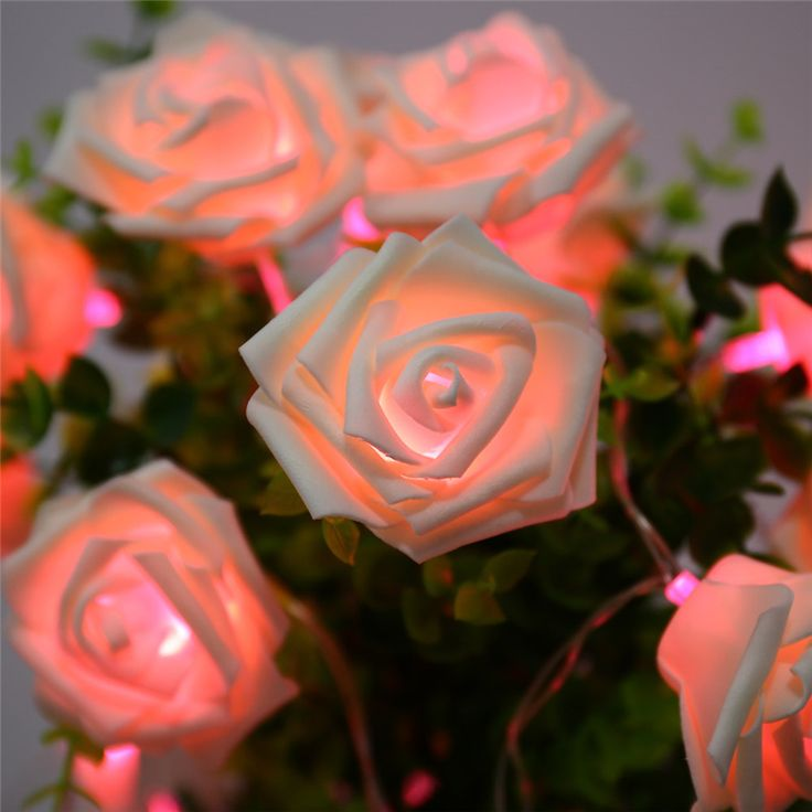 9 Colors Fashion Holiday Lighting 20 LED Novelty Rose Flower Fairy String Lights Wedding Garden Party Valentine's Day Decoration