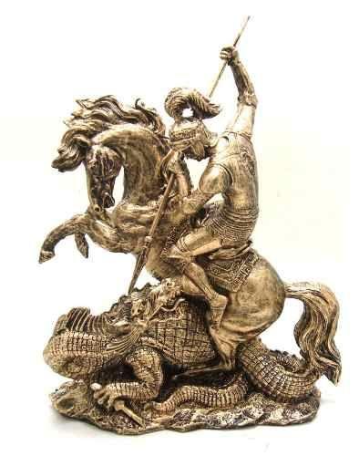 Estatueta São Jorge Com Dragão Santo Guerreiro Resina - R$ 159,99