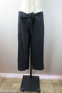 Size S 10 Ladies Crop Beach Pants Crinkel Black Casual Boho Gypsy Festival Style | eBay