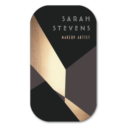 Retro Abstract Gold Makeup Artist Art Deco Beauty Business Cards