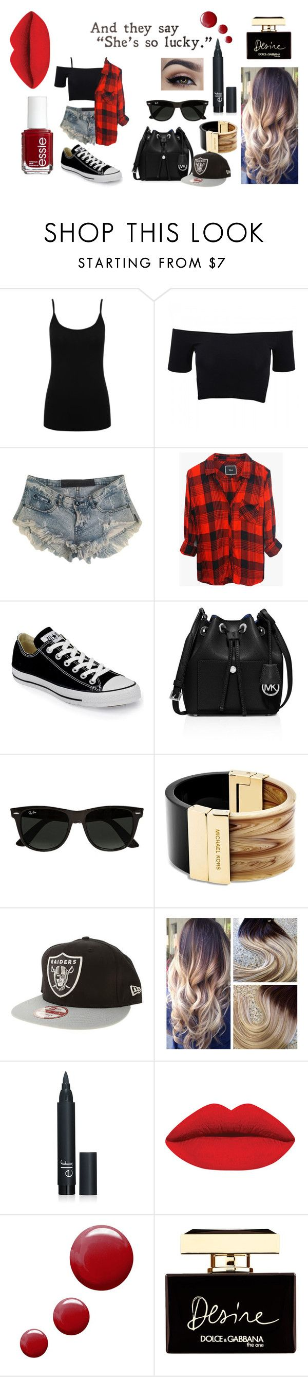 """basic"" by veeruska-1 on Polyvore featuring M&Co, American Apparel, One Teaspoon, Rails, Converse, MICHAEL Michael Kors, Ray-Ban, Michael Kors, New Era and Essie"