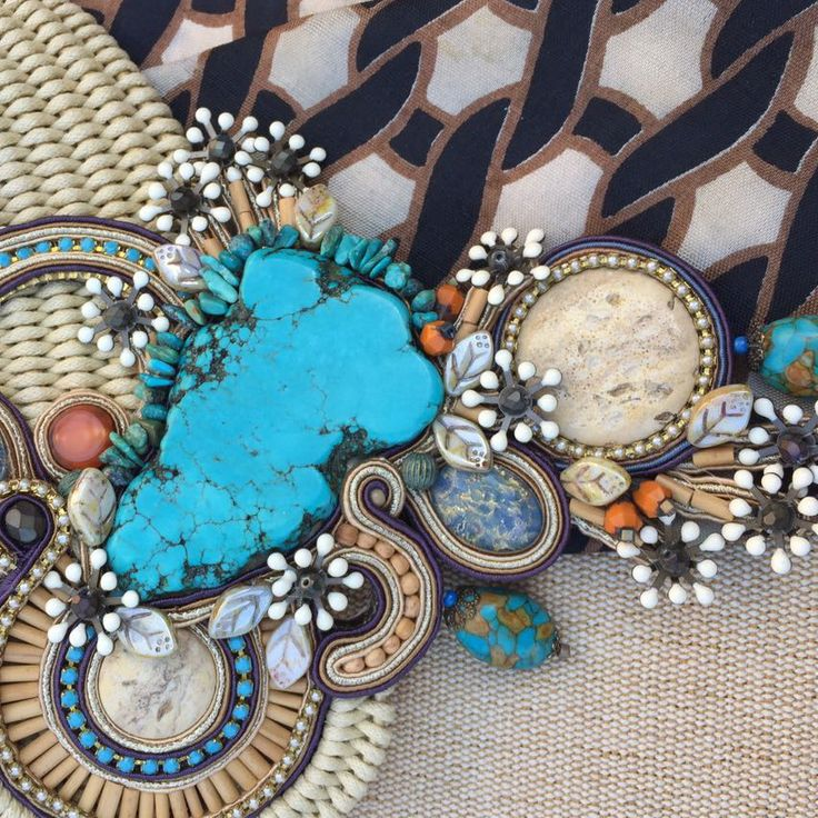 a closer look at our Desert Chic statement necklace...  #doricsengeri #turquoise #couturejewelry #statementnecklace #resortwear