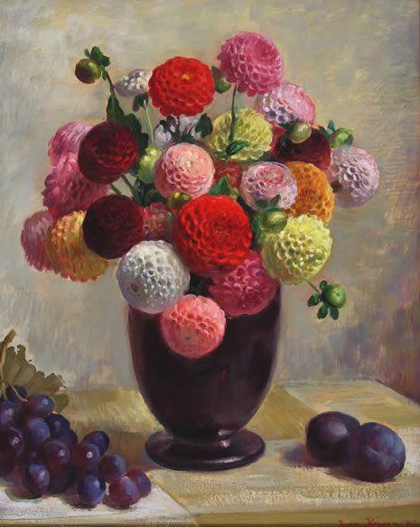 Nora Heysen (Australian, 1911-2003) - Pom Pom Dahlias, 1947