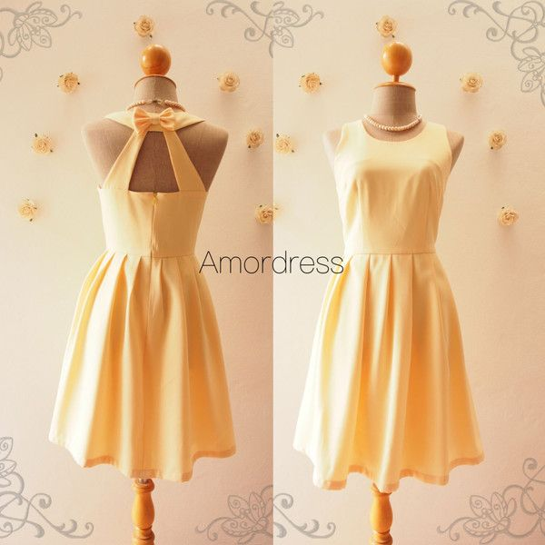 Short Yellow Dress Yellow Bridesmaid Dress Audrey Hepburn Mod Casual... ($55) ❤ liked on Polyvore featuring dresses, silver, women's clothing, short bridesmaid dresses, beige bridesmaid dresses, zipper back dress, beige dress and short sundresses