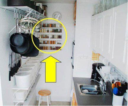 When we showed you Susy's simple and perfectly organized kitchen, several of you immediately went ga-ga over her minimalist spice rack. One reader sent us the photo above and begged us to tell her where to find. Well, you can't buy it, but you can build it! Susy built the spice rack out of common and inexpensive materials, and she very kindly shared her template with us. Read on for instructions, photos and even a diagram!