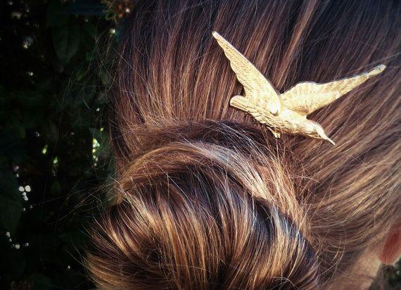 Hummingbird Hair Comb Gold Bird Hair Comb Gold Hair by OLIVIABRUN