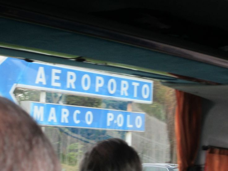 Marco Polo Airport sign in Venice, Italy