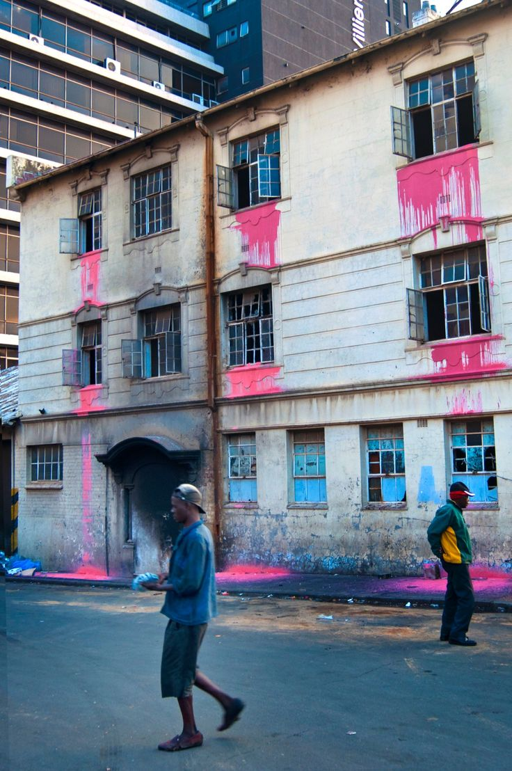 Painting Johannesburg pink: urban art highlights city's neglected high rises