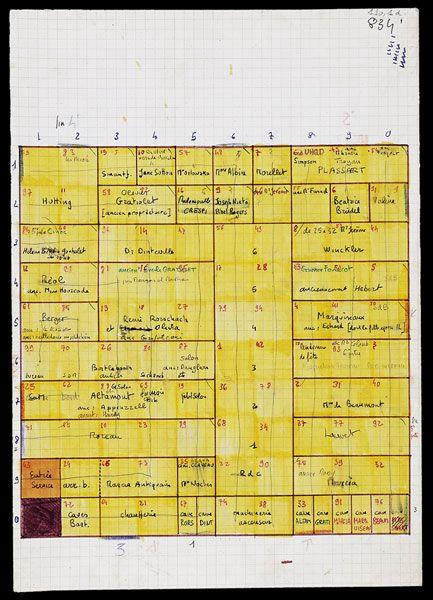 Georges Perec, La Vie mode d'emploi Plan de l'immeuble 30 x 21 cm BNF, Arsenal, dépôt G. Perec, 110, 1, d Le diagramme est superposable au plan en coupe de l'immeuble où va se dérouler le roman (une case = une pièce). Pour régler l'ordre de description des pièces, Perec s'inspire d'un problème d'échecs : faire parcourir tout l'échiquier à un cavalier en s'arrêtant une seule fois par case. Mais par où commencer ? Le point de départ ne peut être le fruit du hasard. Dans le dossier, plusie...