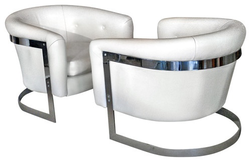 Pair Chrome Steel Lounge Chairs Attributed To Milo
