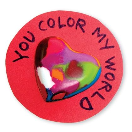 Homemade Valentine Crayon Heart Card - this year's plan for pre-k. :)