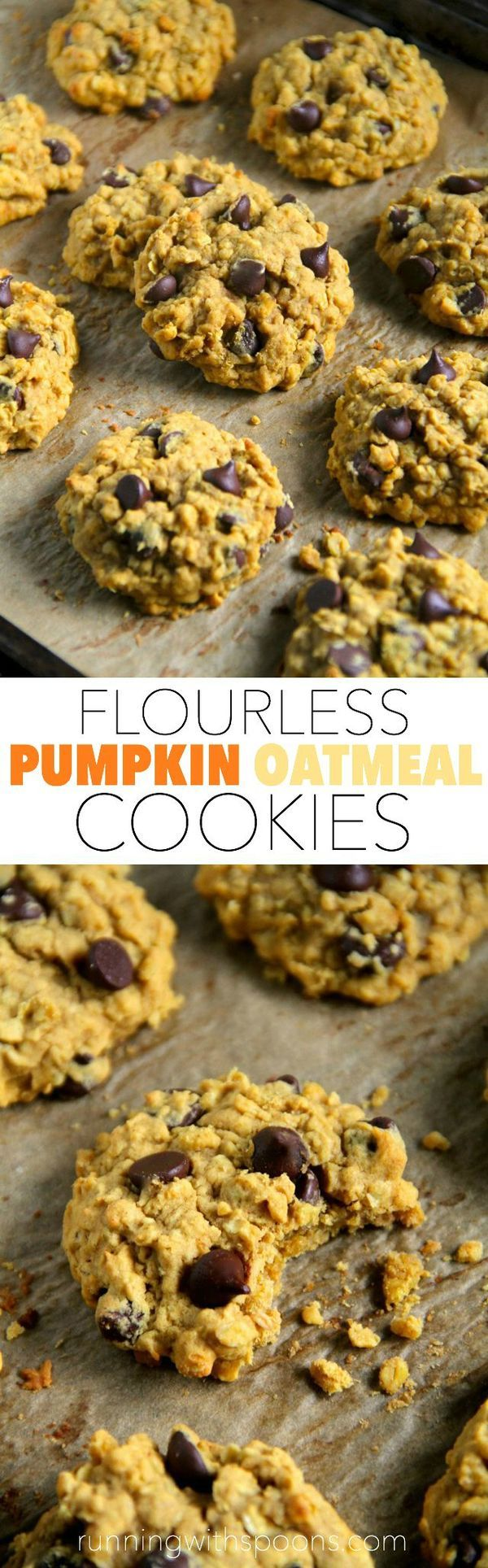 Flourless Pumpkin Oatmeal Cookies -- made without butter or flour, but so soft and chewy that you'd never be able to tell! || runningwithspoons.com #pumpkin #cookies #vegan #fall