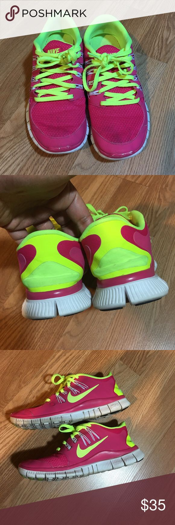 Nike Free 5.0 Women's Shoes Some wear but still in good condition. Pink with neon yellow. Very cute. Great for jogging, Running, cross training. Nike Shoes Athletic Shoes