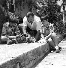 Ernest Hemingway with Patrick and Gregory, his second and third sons with Pauline Pfeiffer