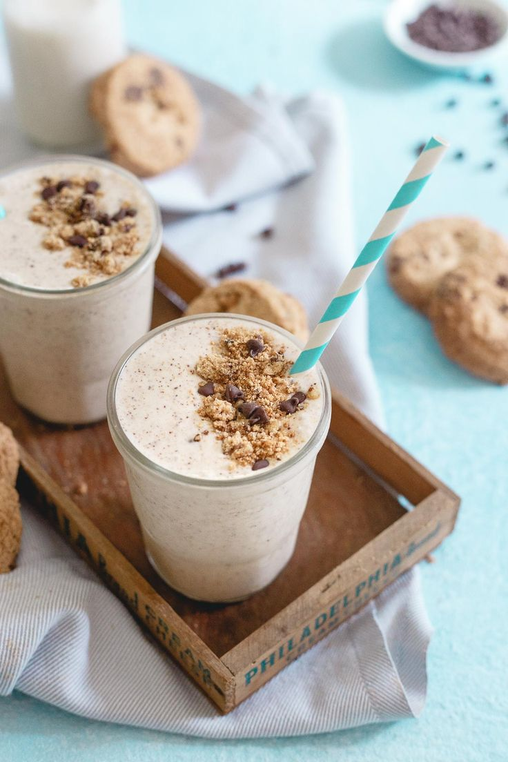 This chocolate chip cookie milkshake is made with maple pecan gluten-free cookies, coconut milk and cashew butter for a creamy cookie dough tasting treat!