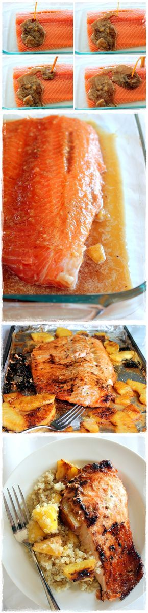 in L O V E --> Brown Sugar Honey Marinated Salmon with Caramelized Pineapple Quinoa via Ambitious Kitchen #healthy #protein