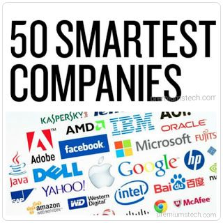 50 Smartest Companies  Nvidia SpaceX Amazon 23andMe Alphabet iFlytek Kite Pharma Tencent Regeneron Spark Therapeutics Face ++ First Solar Intel Quanergy Systems Vestas Wind Systems Apple Merck Carbon Desktop Metal Ionis Pharmaceuticals Gamalon Illumina Facebook Udacity DJI MercadoLibre Microsoft Rigetti Computing Kindred AI Sophia Genetics Tesla Oxford Nanopore Foxconn M-KOPA ForAllSecure Flipkart Bluebird Bio Adidas IBM General Electric Alibaba HTC Blue Prism Jumia (Africa Internet Group)…