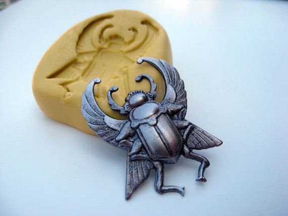 EGYPTIAN SCARAB with wings   silicone mold for by Moldstuff