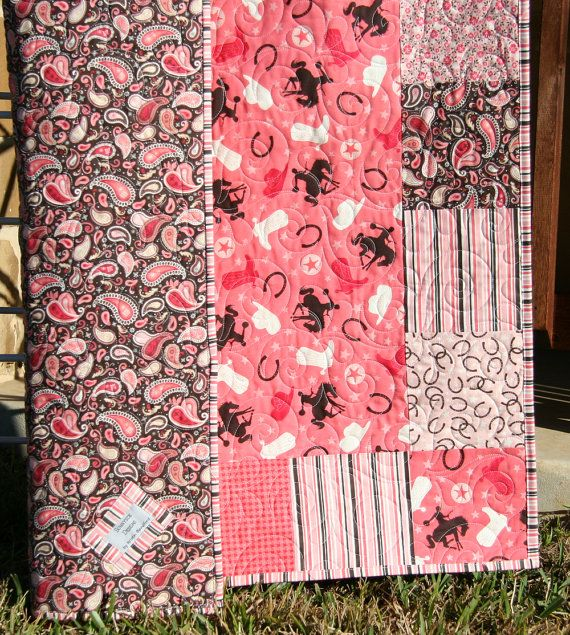 Western Quilt Girl Blanket Horseshoes Boots by SunnysideDesigns2, $149.00