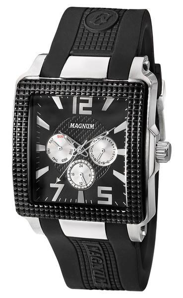 Magnum MA31882T Men's Watch Square Silver Case Black Rubber Band