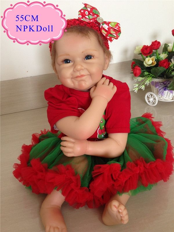 82.96$  Buy here - http://ali4wc.worldwells.pw/go.php?t=32717245588 - High End Gift 55cm 22inch Silicone Dolls Reborn With Christmas Fashion Clothes New Arrival Cheap Silicone Baby Doll For Sale 82.96$