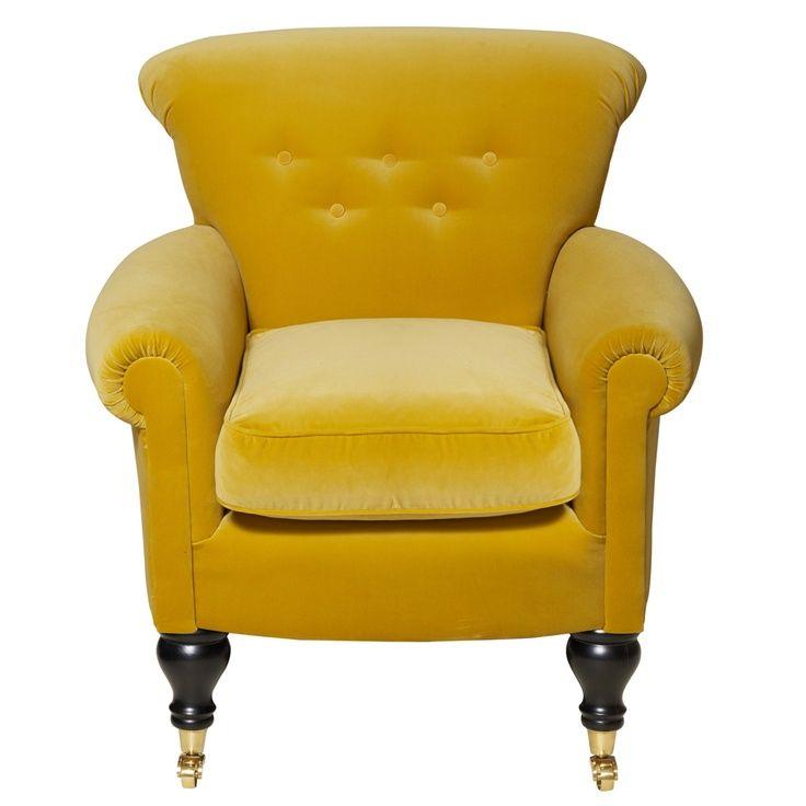 Velvet Yellow Armchair | Unique living room furniture ...