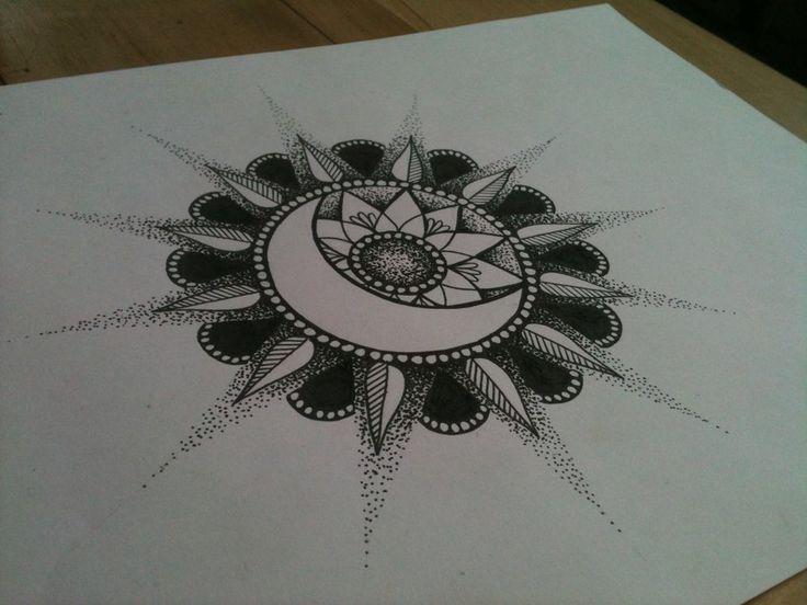 Sun/ Moon Mandala Tattoo... I absolutely love it. So beautiful. I love the moon and sun incorporation
