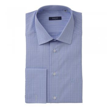 A smart tailored fitting, cotton shirt, with a subtle blue and white check. Features include, double-cuffs, removable collar-bones, a cut-away collar and wolfhound logo.