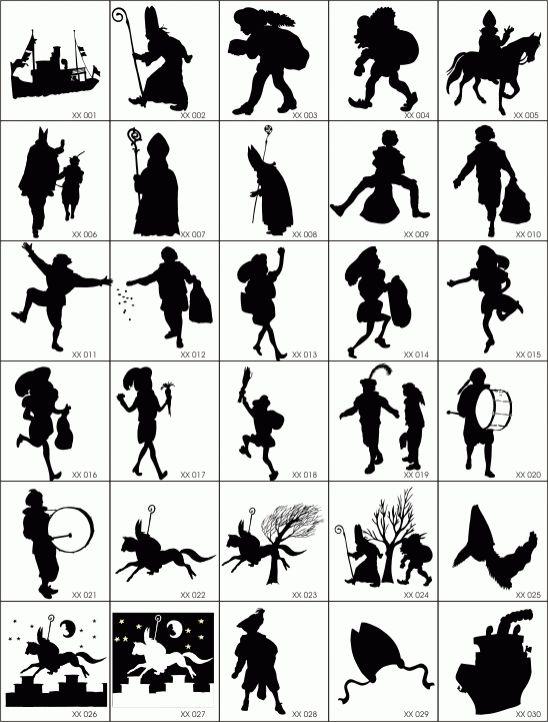 Sinterklaas | zwarte Piet | silhouet | vector | black |