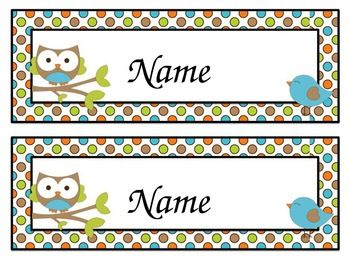 Owl and Friends Classroom Name Labels: Large (Editable)