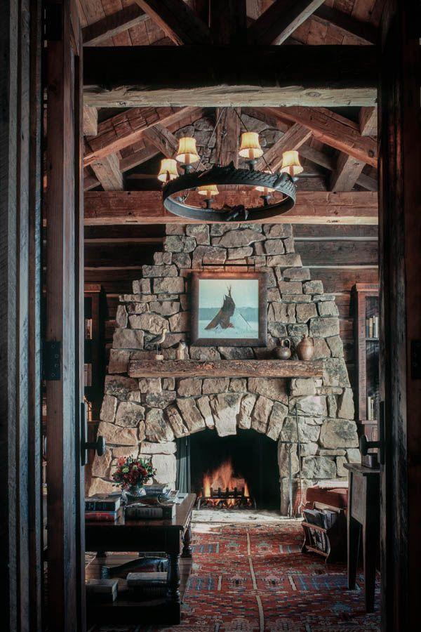 Stone fireplace at McKenna Mountain Retreat - Interior ...