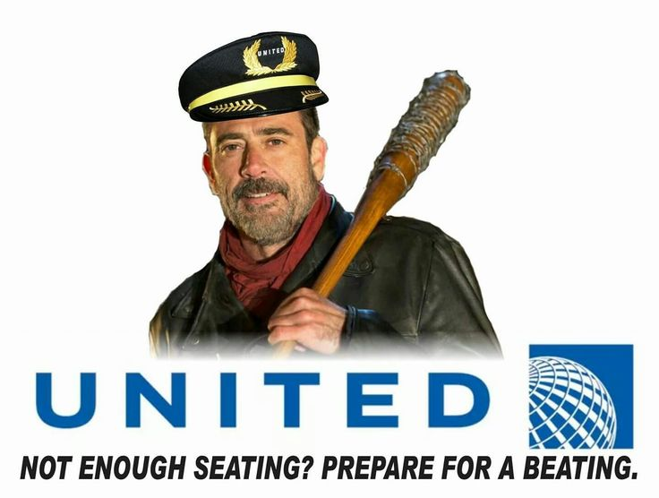 The walking dead funny meme. United airlines edition