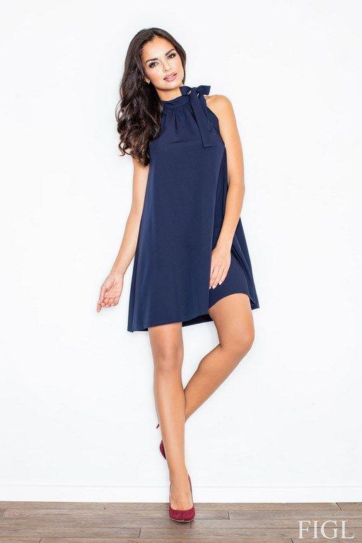 Granatowa sukienka w kształcie litery A