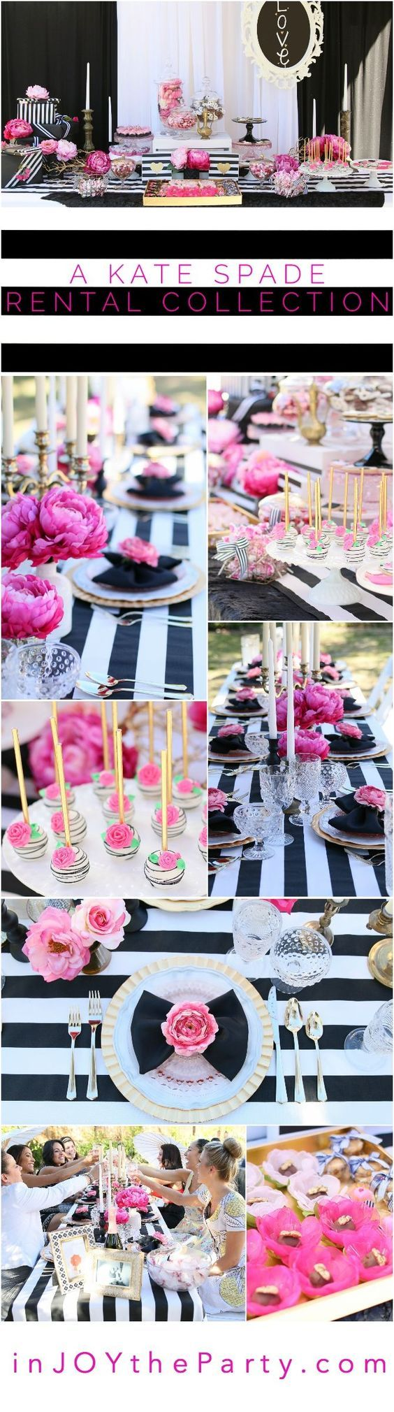 """We rent it, you design it! You'll want to find a reason to celebrate with our """"Pink Please"""" Kate Spade Rental Collection! Everything here is prepackaged and ready to rent. Yup, even the flowers! Black & White Stripes + Pink Peonies + gold accents = LOVE! Perfect for a bridal shower, baby shower, or birthday party for your favorite fashionista. @inJOYtheParty"""