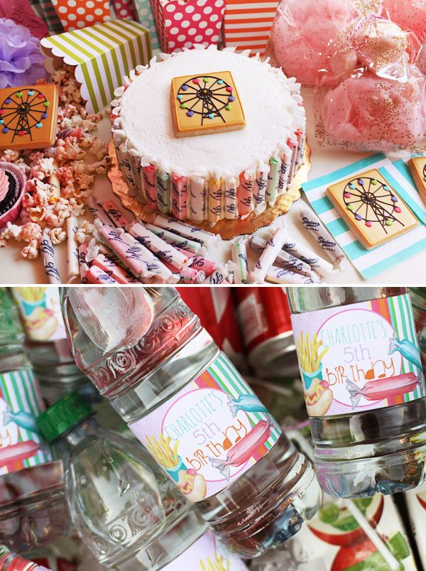 Bright and fun boardwalk inspired Summer Birthday Party with ferris wheel cookies, cotton candy and snow cone machines, and a purple chevron drink station!