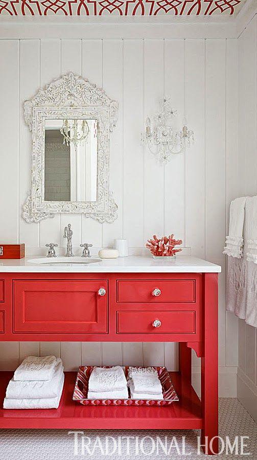 Baño Pintado De Rojo:Vanidades, Cuarto de baño and Baños brillantes on Pinterest