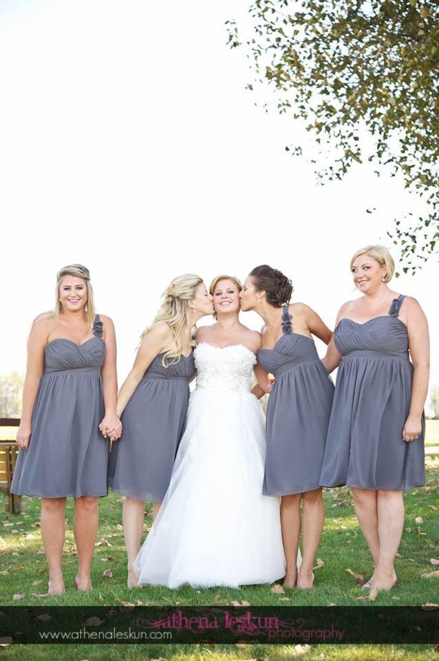 Charcoal Grey Bridesmaids Dress Bride And Bridesmaids