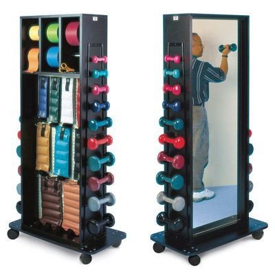 Cuff Weights, Dumbbells, Therabands, Mirror Combo Mobile Rack - Physiotherapy